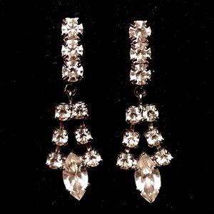 Vintage crystal Art Deco drop dangle earrings